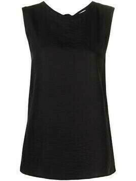 Alysi tie-fastenig sleeveless blouse - Black