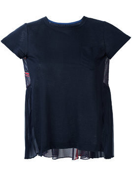 Sacai chiffon panelled top - Blue