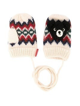Miki House fair isle mittens - White