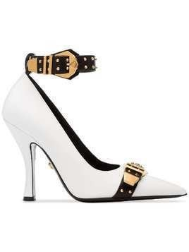 Versace white, black and gold metallic Versace Studded buckle strap leather pumps