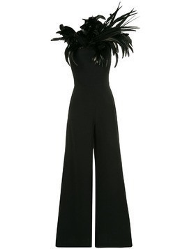 Isabel Sanchis feathered one shoulder jumpsuit - Black