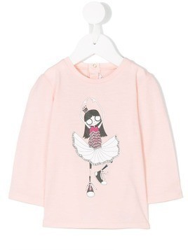 Little Marc Jacobs ballerina print longsleeved T-shirt - Pink