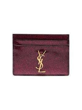 Saint Laurent pink logo glitter patent leather cardholder - Pink & Purple
