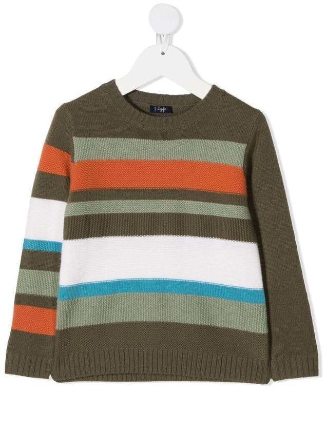 Il Gufo virgin wool striped jumper - Green