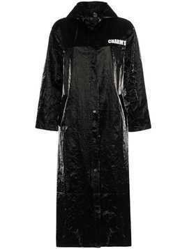 Charm's eye print vinyl raincoat - Black