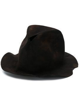 Horisaki Design & Handel distressed soft brim fedora - Black