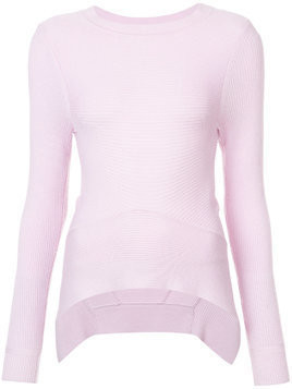 Tome asymmetric ribbed-knit jumper - Pink & Purple