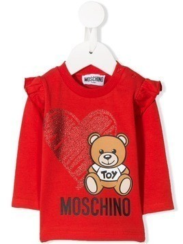 Moschino Kids logo teddy print top - Red