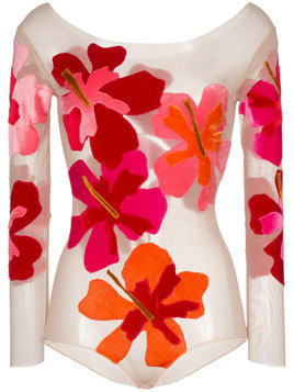 Alexia Hentsch Silk Flower Applique Bodysuit - Multicolour
