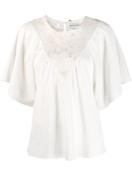Antik Batik embroidered floral panel blouse - White