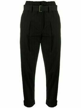 Gentry Portofino paperbag belted cropped trousers - Black