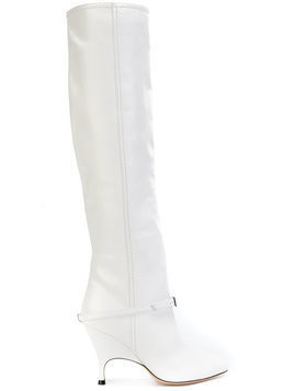 Alchimia Di Ballin buckle detail knee length boot - White