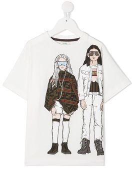 Fendi Kids kid print T-shirt - White