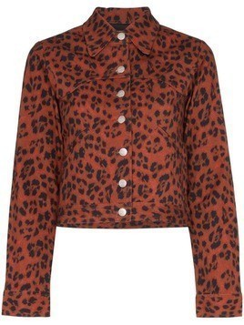 Miaou Lex leopard print denim jacket - Red