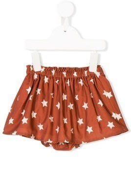 Knot star print pleated skirt - Brown