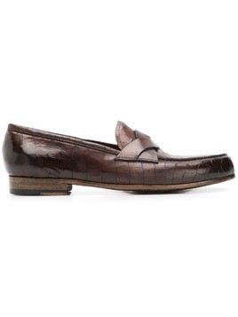 Lidfort embossed loafers - Brown