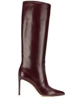 Francesco Russo pointed knee length boots - Red