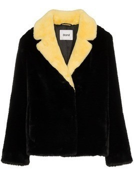 Stand Mariska contrast collar faux fur jacket - Black