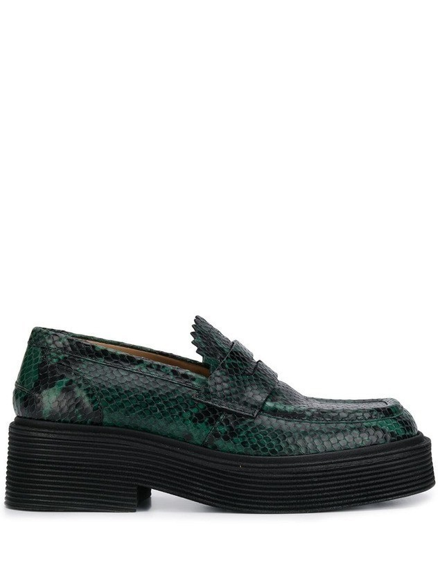 Marni snakeskin print loafers - Green