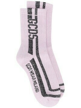 Gcds glitter-stripe socks - PURPLE