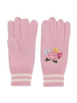 Monnalisa floral embroidered gloves - Pink