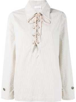 Chloé lace up corduroy shirt - Nude & Neutrals