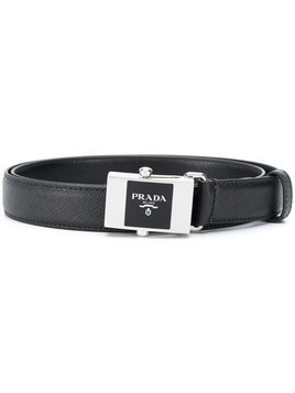 Prada enamel buckle leather belt - Black
