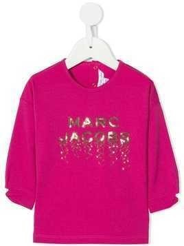 Little Marc Jacobs sequin embellished logo T-shirt - PINK