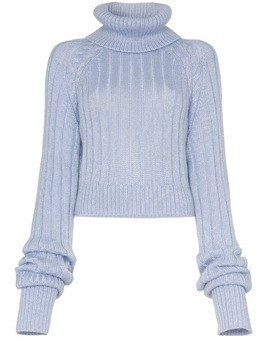 Matthew Adams Dolan ribbed knit roll neck jumper - Blue