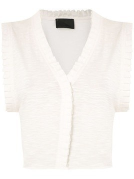 Andrea Bogosian pleated trim Poncho blouse - White