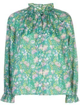 Cynthia Rowley Floral Cotton Waterfall Top - Green