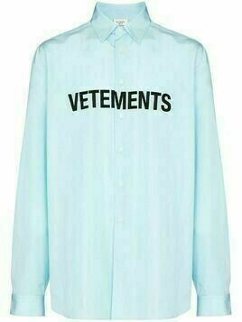 Vetements logo print cotton shirt - Blue