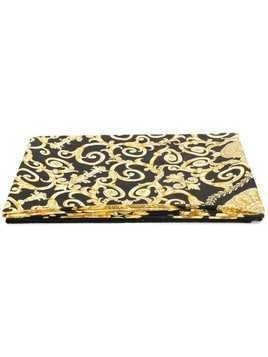 Versace Gold Hibiscus print beach towel - Black
