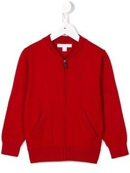 Burberry Kids Check Elbow Patch Bomber Cardigan - Red