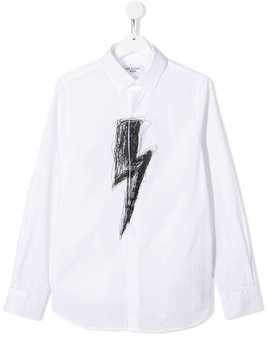 Neil Barrett Kids lightening strike print poplin shirt - White