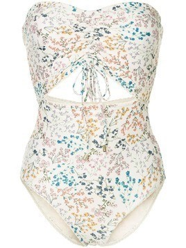 Peony ruched wild flower print swimsuit - Neutrals