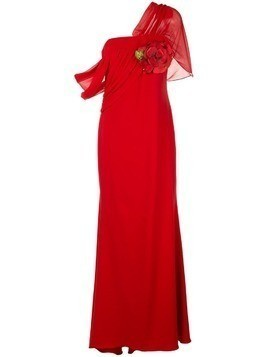 Badgley Mischka asymmetric draped gown - Red