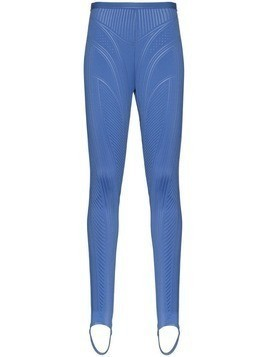 Mugler embossed stirrup leggings - Blue