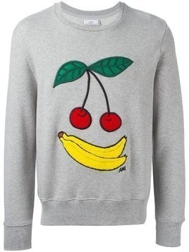 Ami Alexandre Mattiussi cherries and banana embroidered sweatshirt - Grey