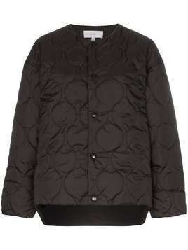 Hyke collarless quilted jacket - Black