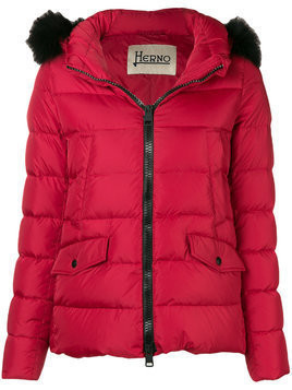 Herno fox fur trim padded jacket - Red