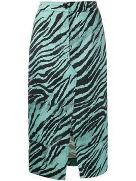 Brognano tiger print pencil skirt - Blue