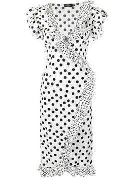 De La Vali polka dot wrap dress - White