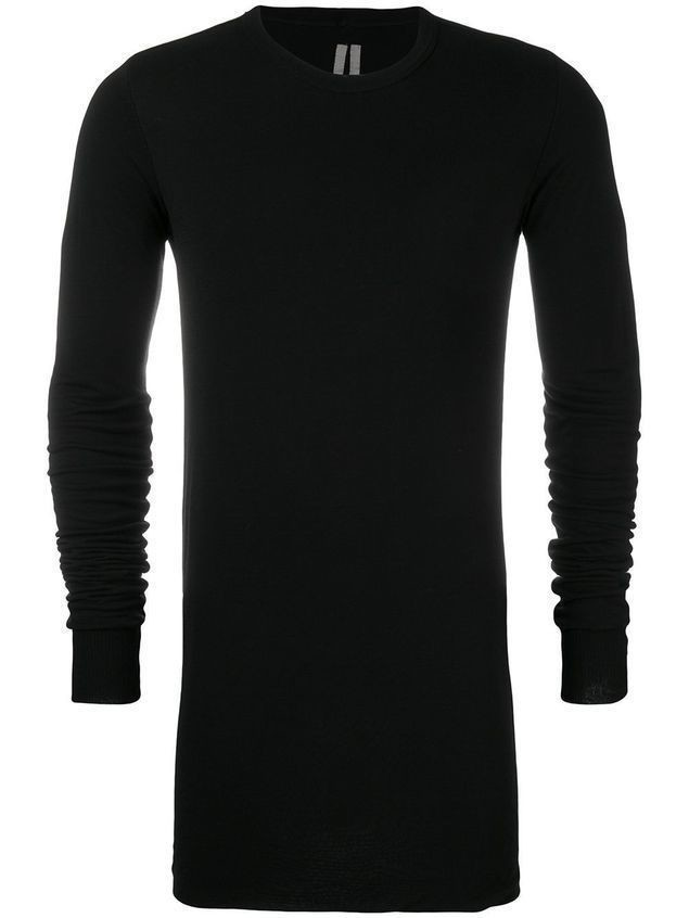 Rick Owens draped long sleeve T-shirt - Black