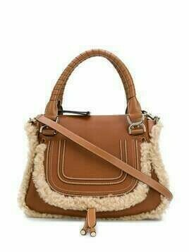 Chloé shearling-trimmed tote bag - Brown