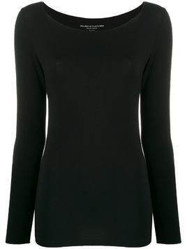 Majestic Filatures boat neck stretch top - Black