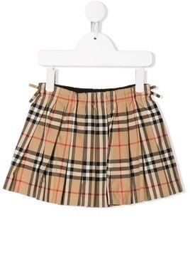 Burberry Kids Vintage check pleated skirt - Neutrals