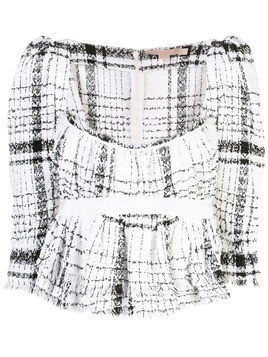 Brock Collection Occupy plaid top - White