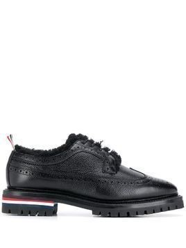 Thom Browne Shearling Lining Longwing Brogues - Black