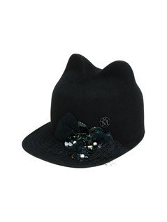 Maison Michel embellished cats ears cap - Black